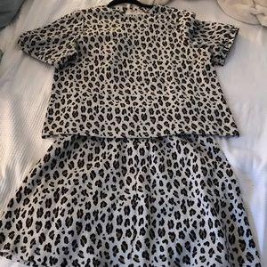 NWT Loft leopard skirt and puff sleeve sweater
